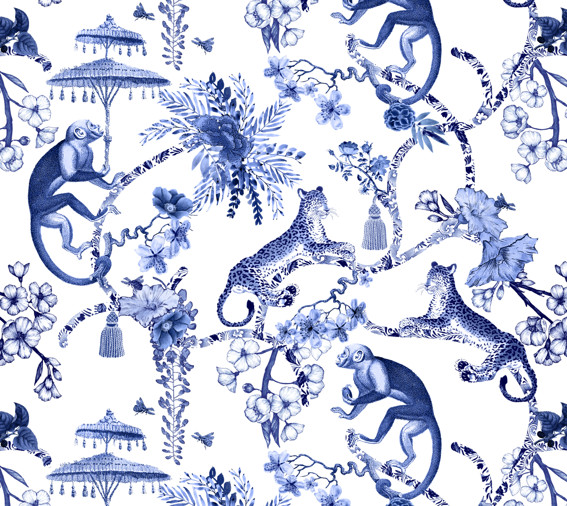 Aperçu de Chinoiserie Whimsy - Blue and White - Fabric