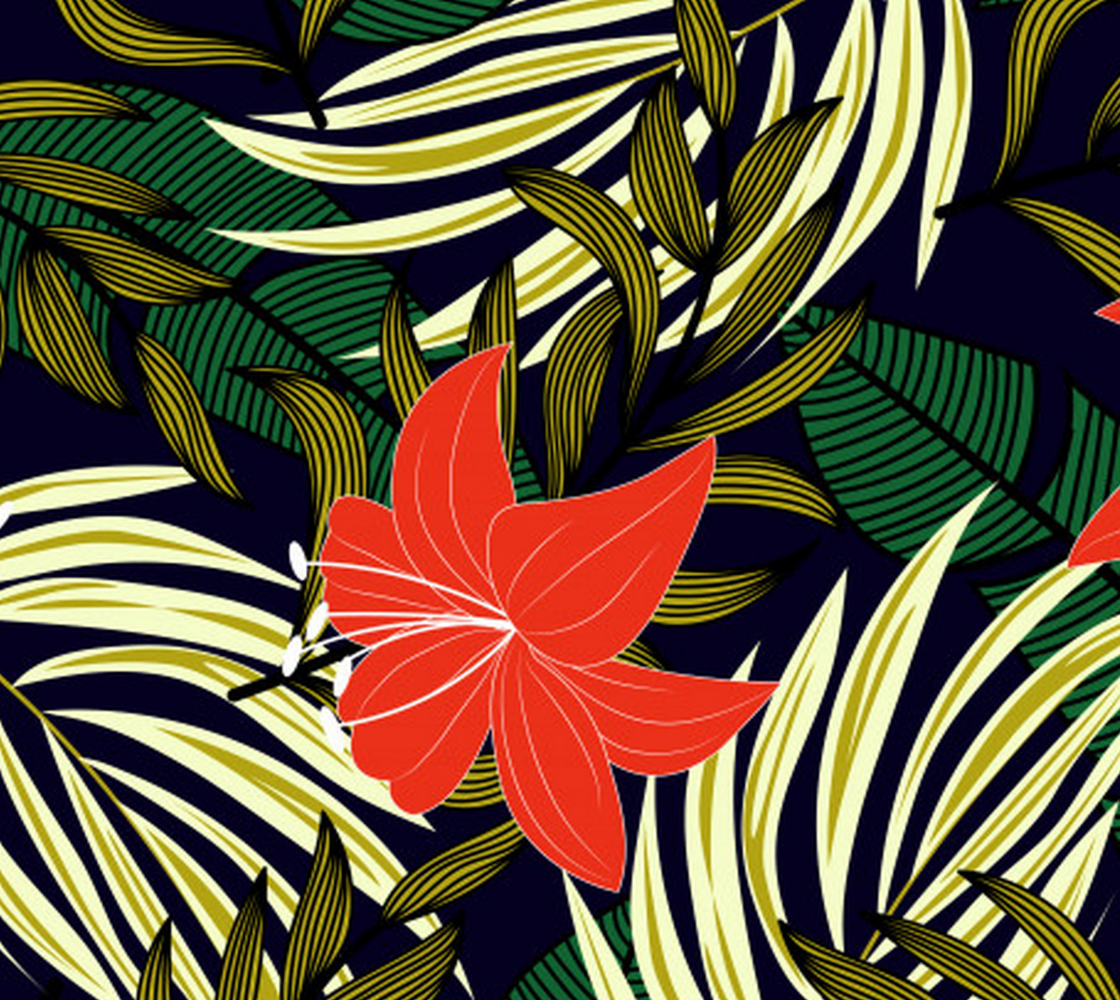 Aperçu de Tropical Jungle Abstract Leaves and Flowers