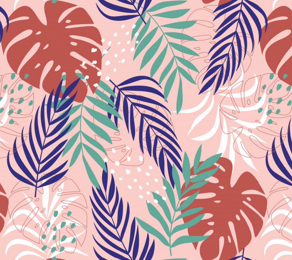 Aperçu de Tropical Leaves on Pink background