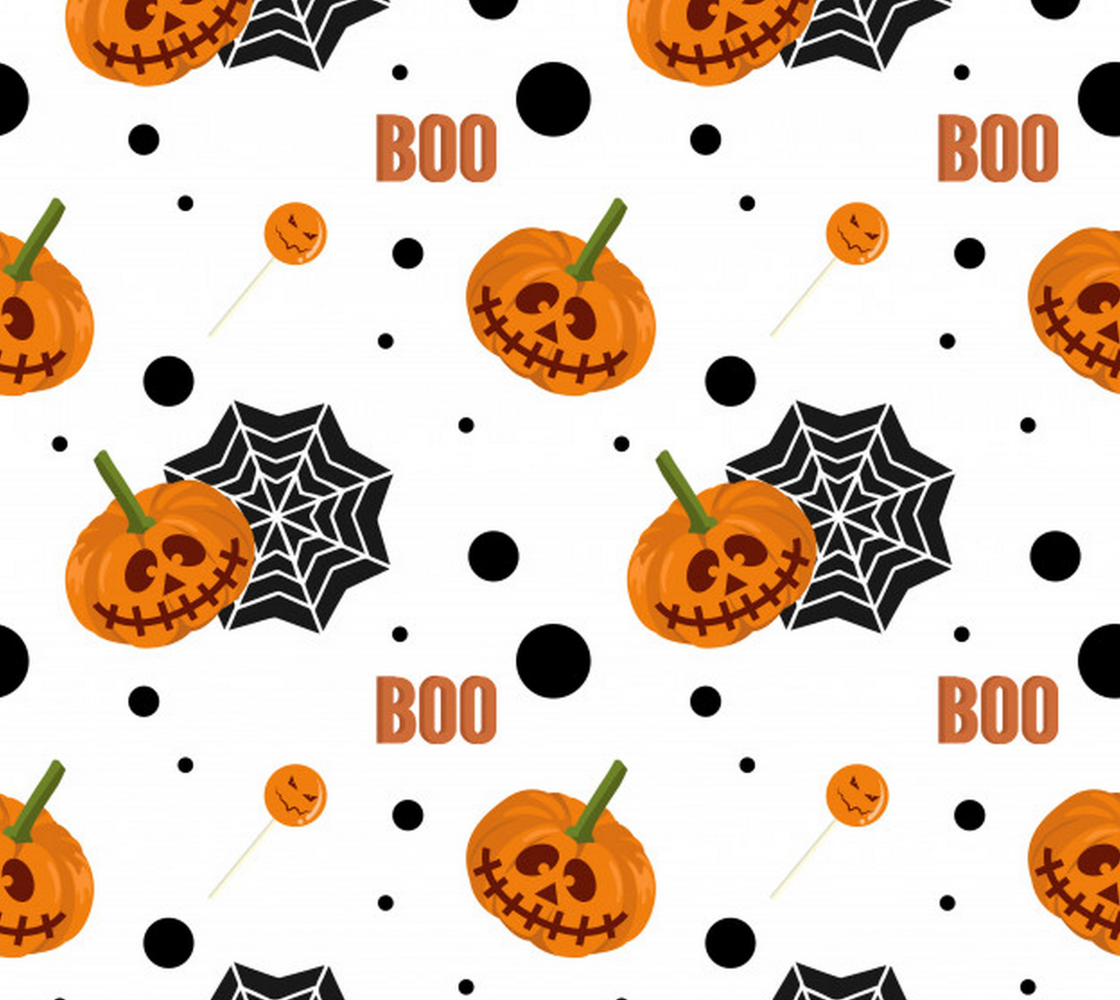 Aperçu de Kid's Halloween Fabric - pumpkins, spider web, polka dots - super cute