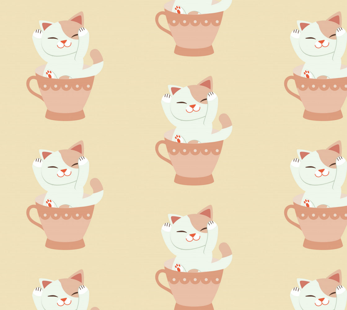 Aperçu de Adorable Kitten in a Teacup - Ideal for kid's quilts and room decor