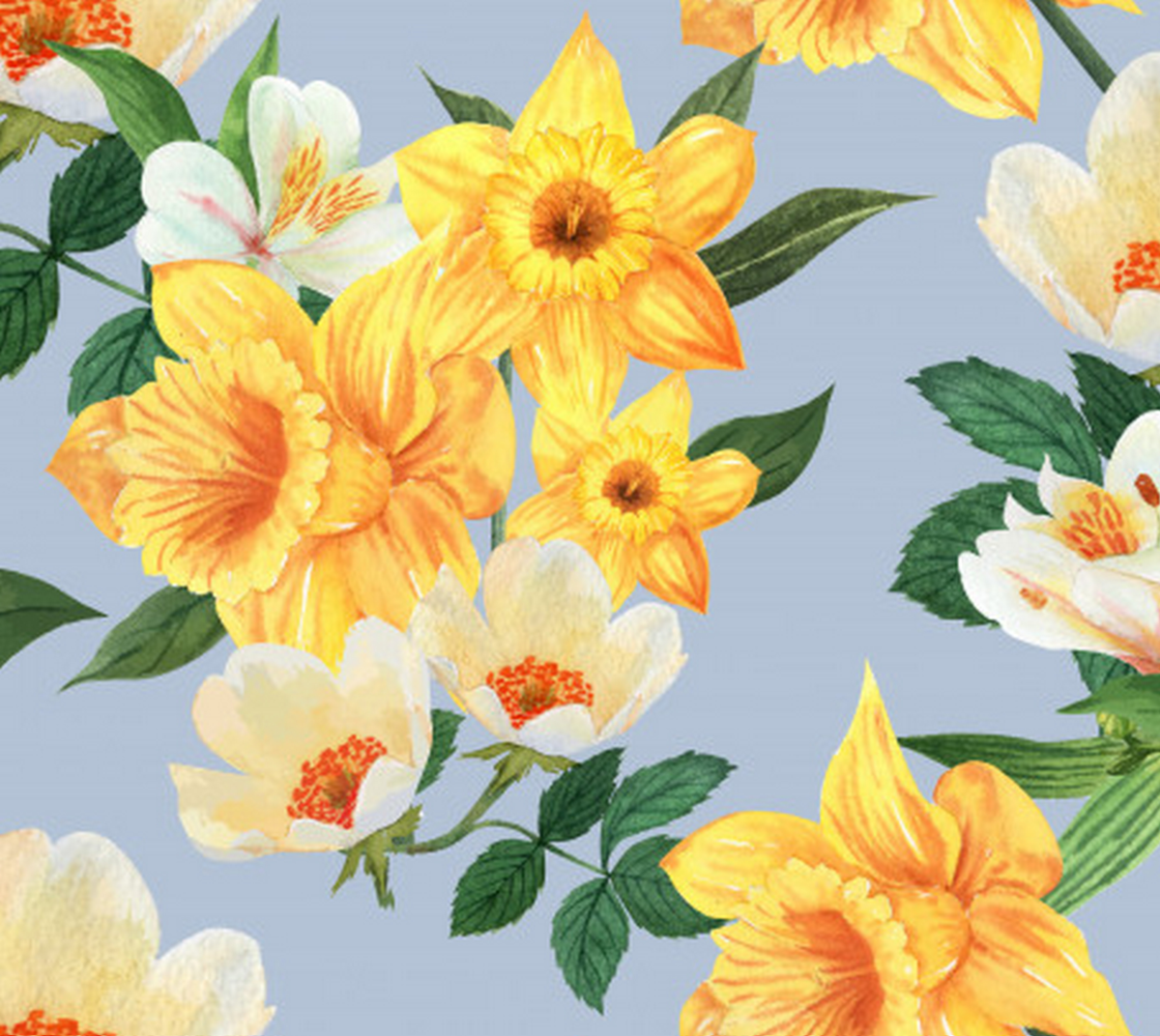 Aperçu de Gorgeous Yellow and White Floral on Soft Pastel Blue Background