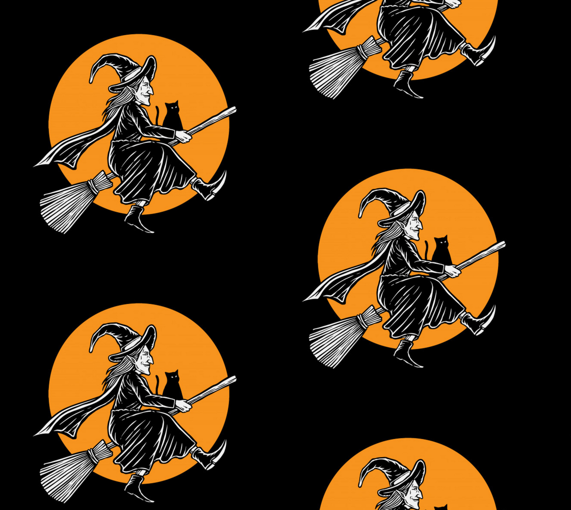 Aperçu de Illustration of Witch Riding a Broom - Halloween