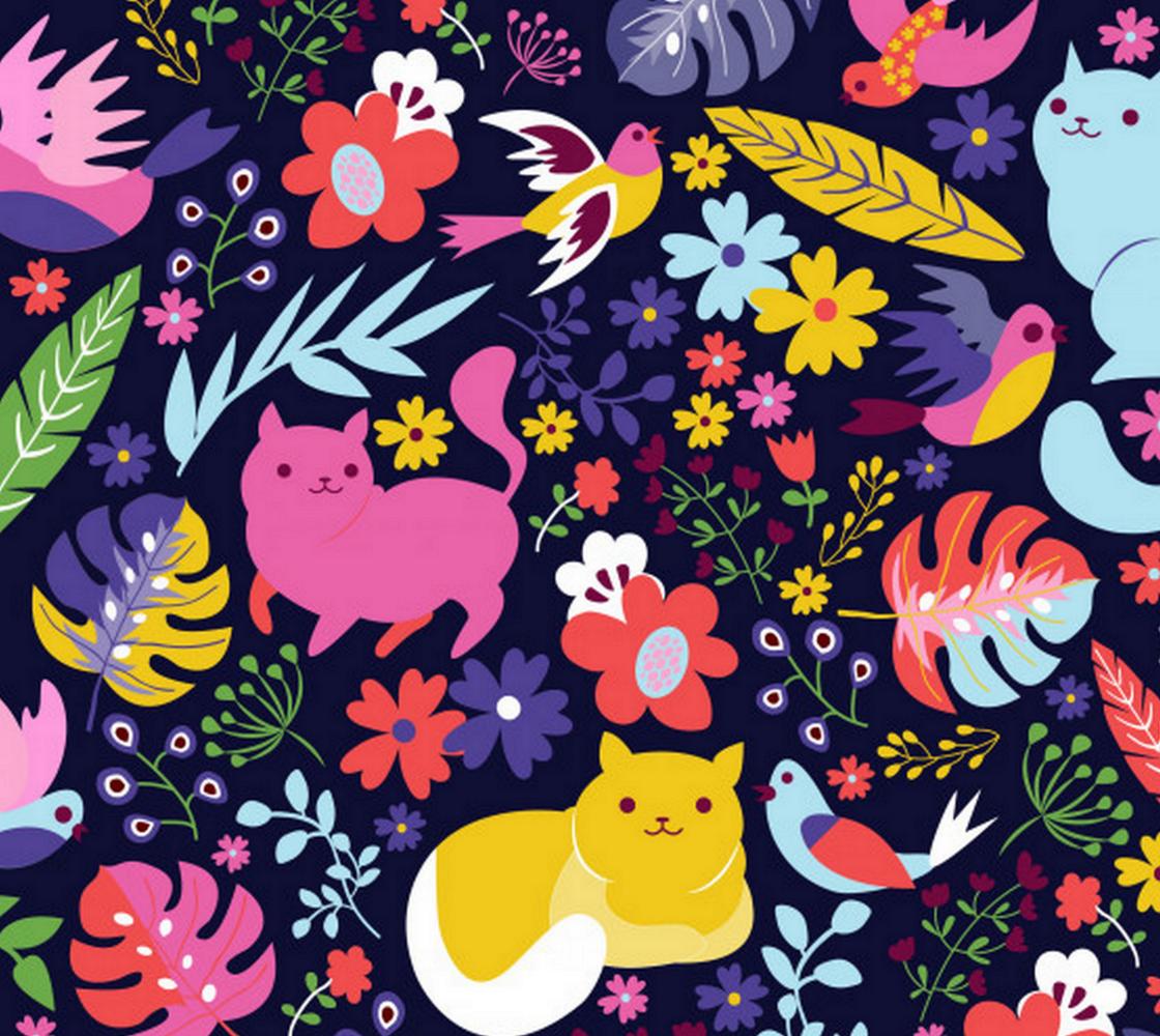 Aperçu de Colorful Cats Flowers and Birds