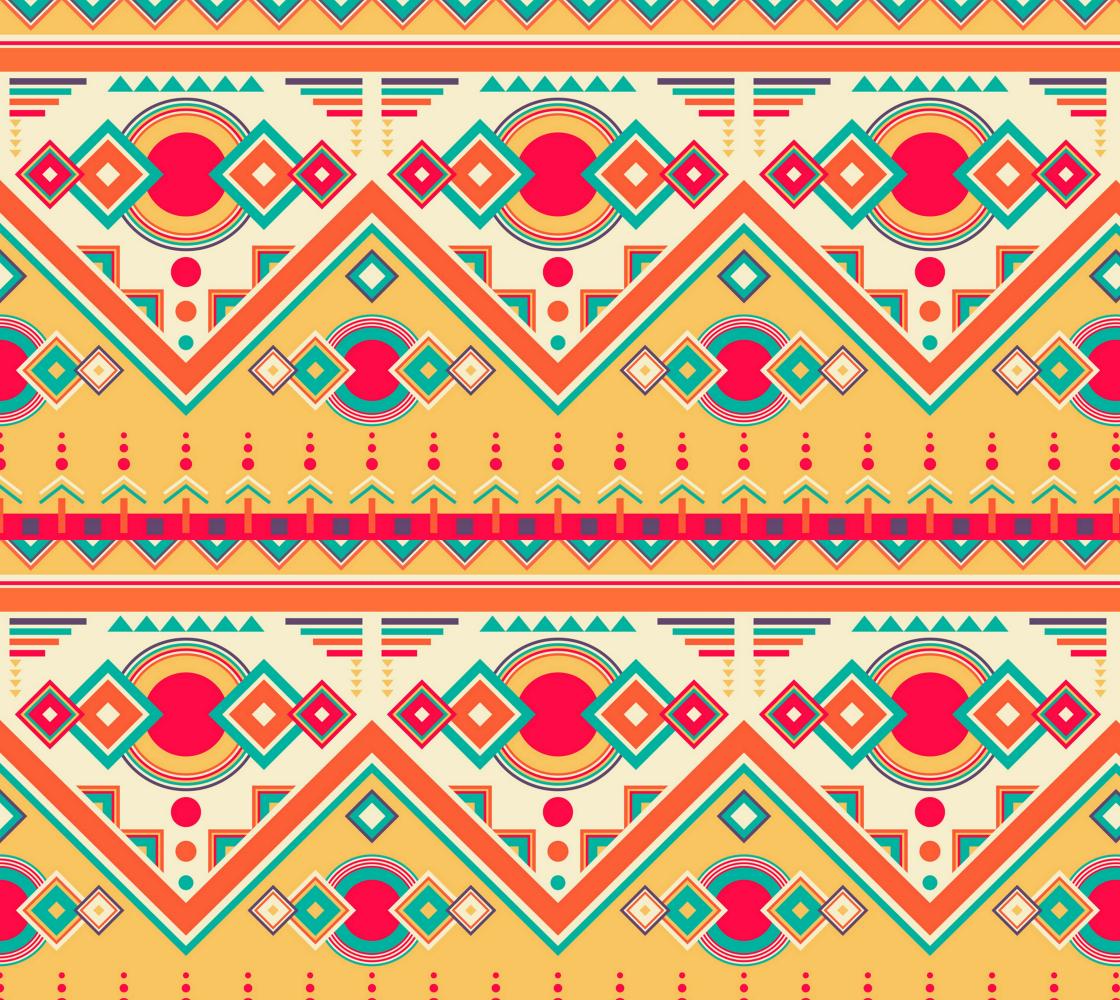 Aperçu de Cool Tribal Pattern - Orange, Yellow, Teal - Ethnic Tribal Pattern