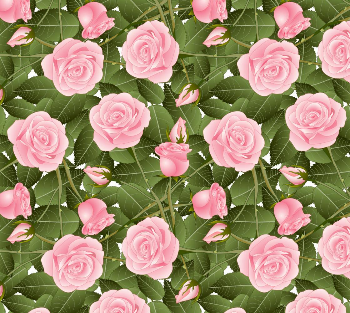 Aperçu de Beautiful Big Pink Roses and Leaves