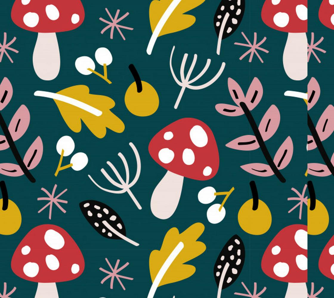 Aperçu de Retro Mushrooms, Fall Leaves and Flowers
