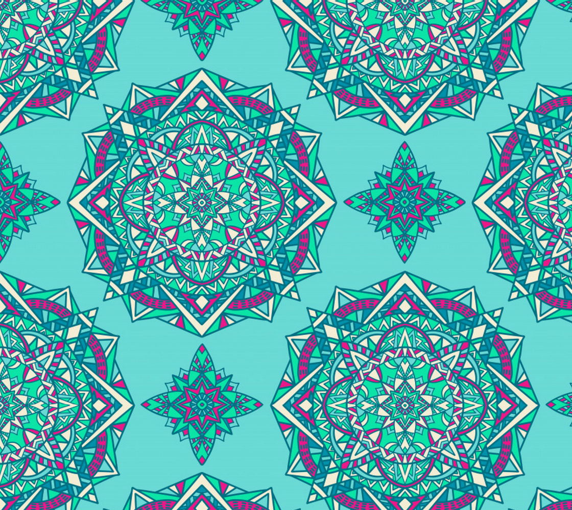 Boho Style Mandala - Aqua, Purple preview