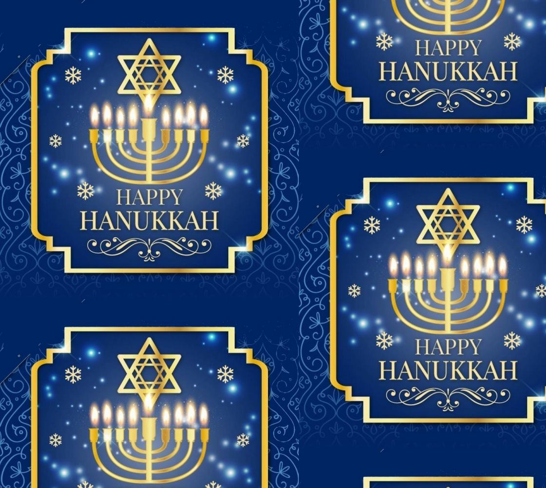 Aperçu de Gorgeous Hanukkah Menorah with Star of David Fabric