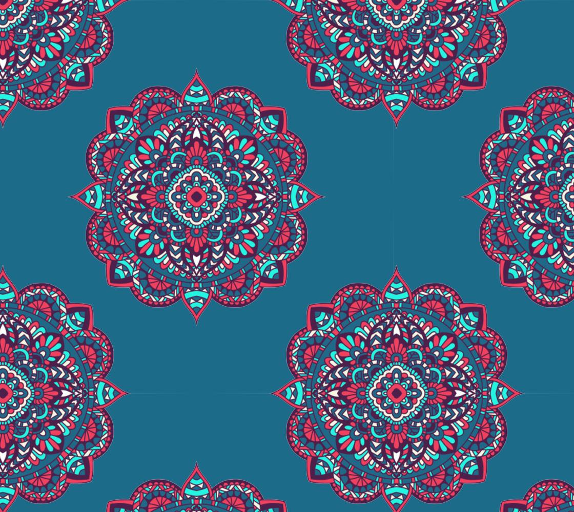 Aperçu de Gorgeous Mandala on Blue Background
