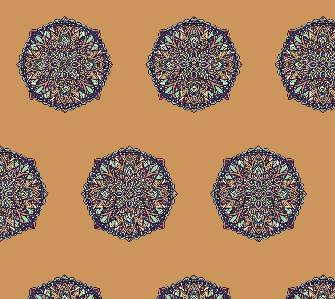 Aperçu de Floral Mandala on Gold Background