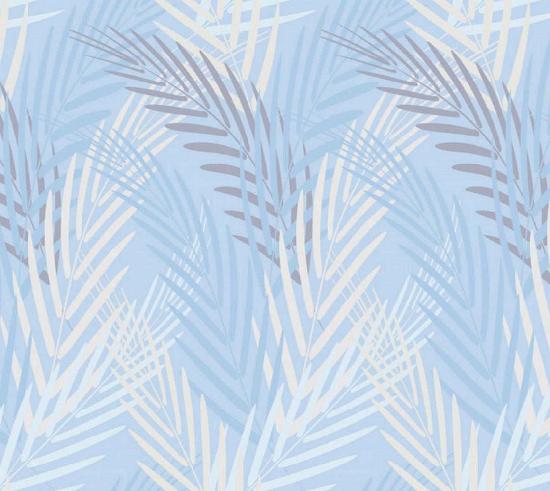 Leaves on Pastel Blue Background Miniature #1