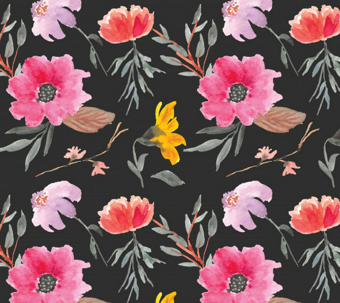 Aperçu de Elegant, Bright, Colorful Floral on Dark Background - Watercolor