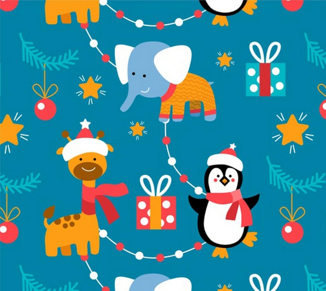 Aperçu de Christmas Animals - Penguin, Giraffe, Elephant with Ornaments and Wrapped Presents