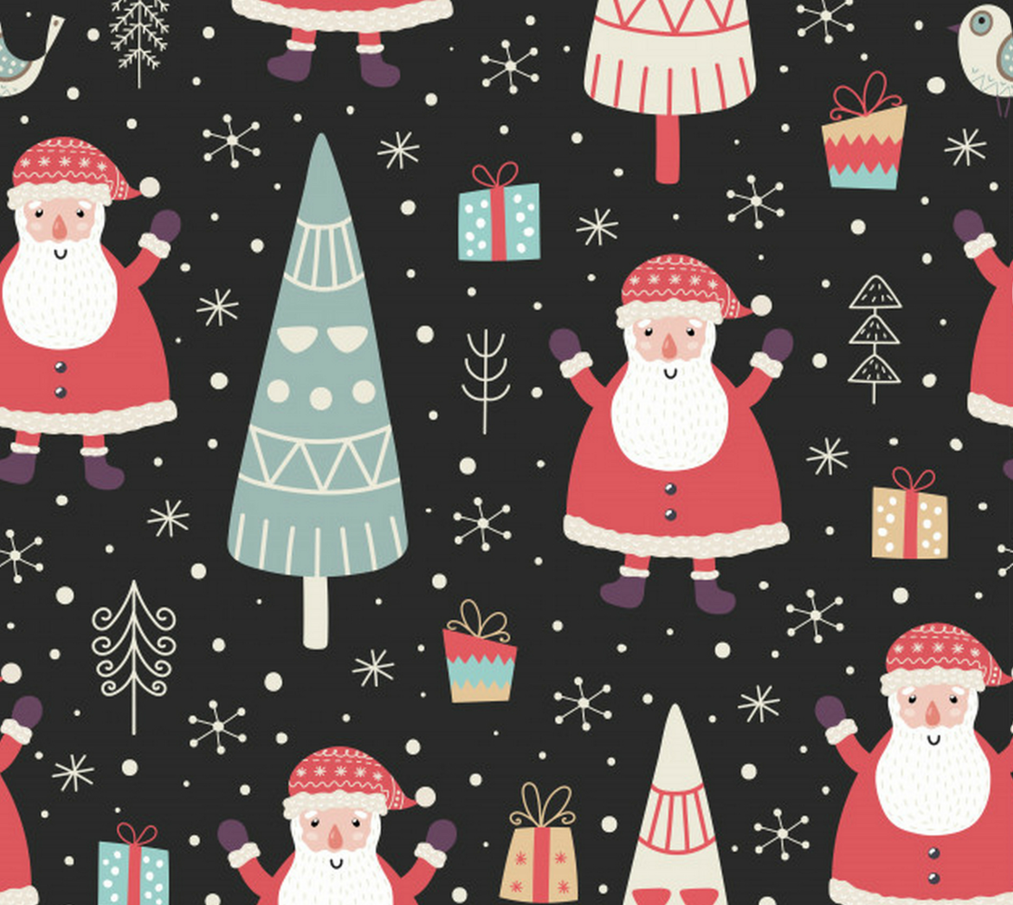 Aperçu de Santa with Abstract Trees and Presents - Darling Christmas Fabric