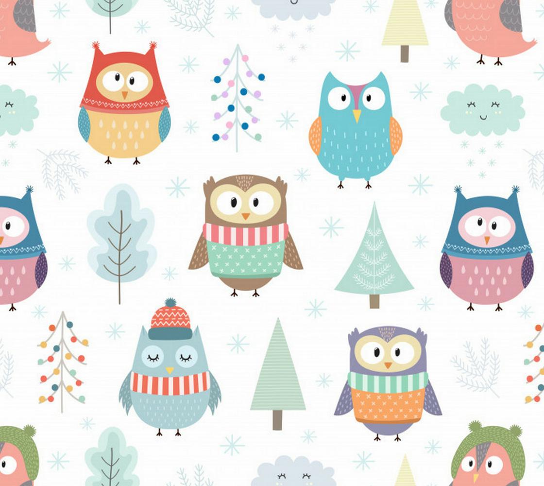 Aperçu de Adorable Pastel Christmas Owls