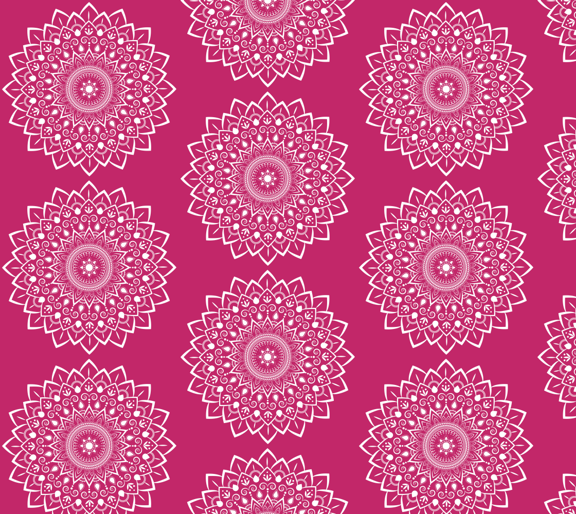 Aperçu de Gorgeous Mandala White on Rose Pink