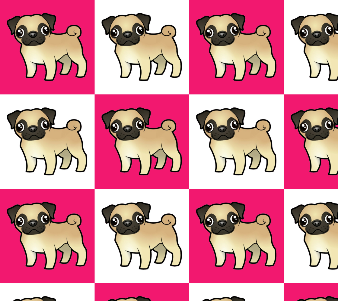 Aperçu de Little Pugs on Pink and White Checkerboard