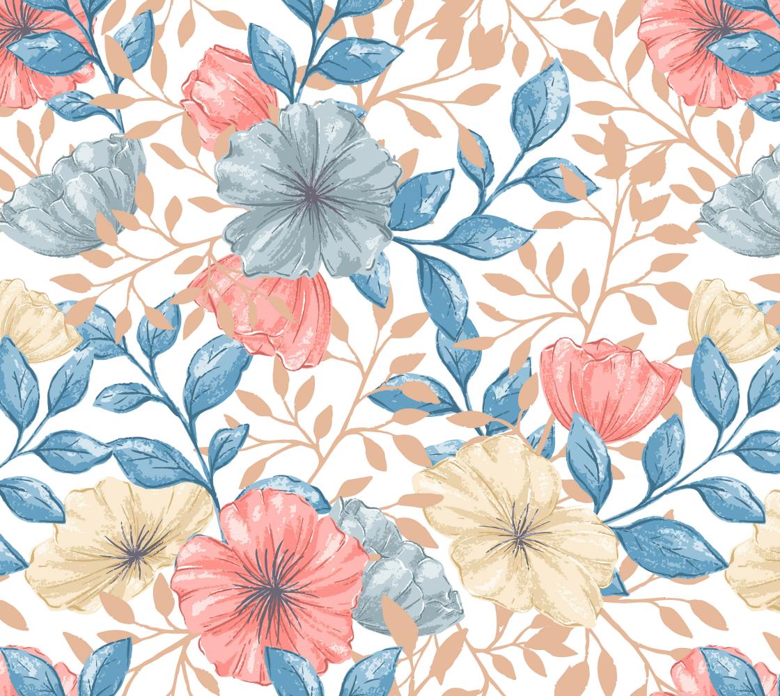Aperçu de Gorgeous Pink and Blue Vintage Floral