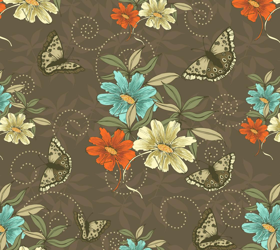 Aperçu de Vintage Floral With Butterflies