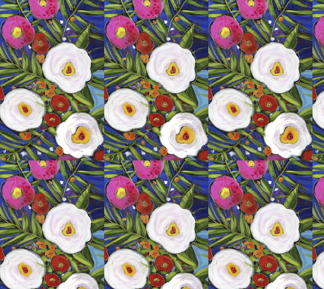 Aperçu de tissus fleurs indigo