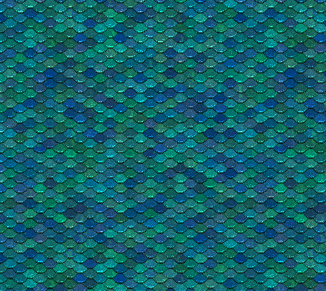 Mermaid Scale Fabric Fish Scale Pattern In Sparkling Blue and Green  preview