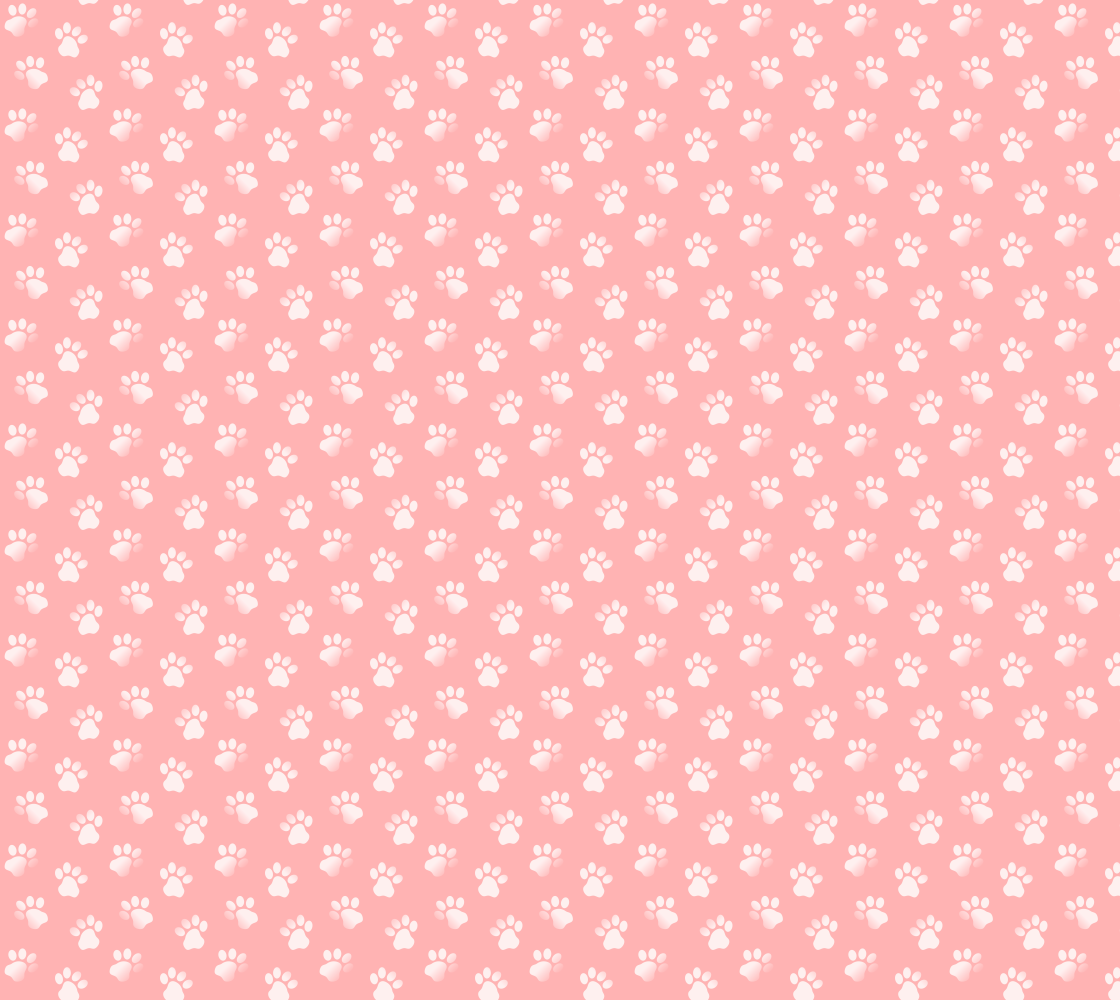 Cat or Dog Animal Paw Print Pattern In Pastel Light Pink and White preview