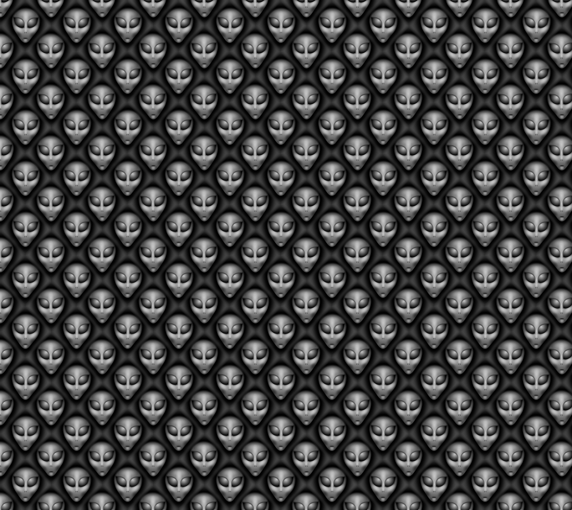 Extraterrestrial Aliens The Greys on Black Fabric Print Pattern preview
