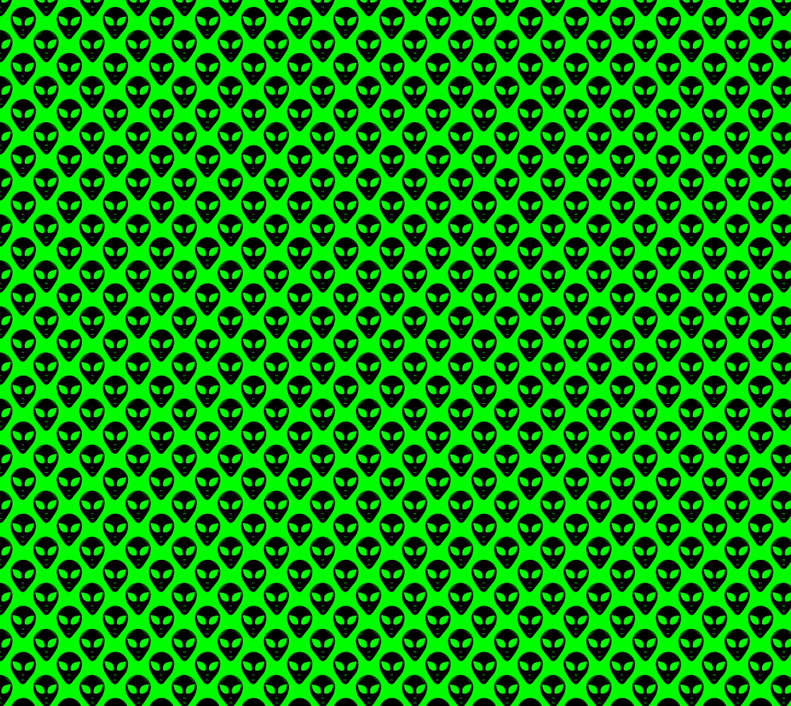 Neon Green on Black Extraterrestrial ET Alien Heads Pattern Fabric preview
