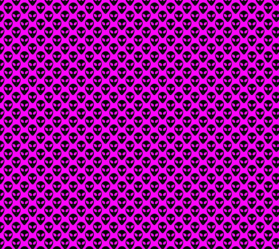 Neon Pink on Black Extraterrestrial ET Alien Heads Pattern Fabric preview