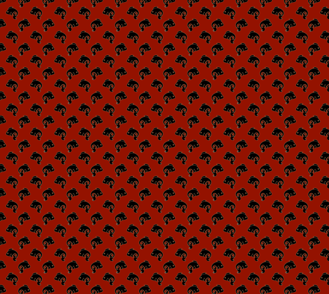 Unique Fish Pattern Fabric Black and Red Colours preview