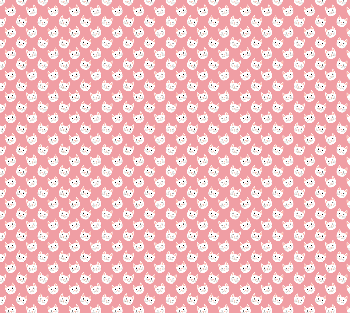 Cute Cat Kitten Face Fabric Pattern Pink and White preview