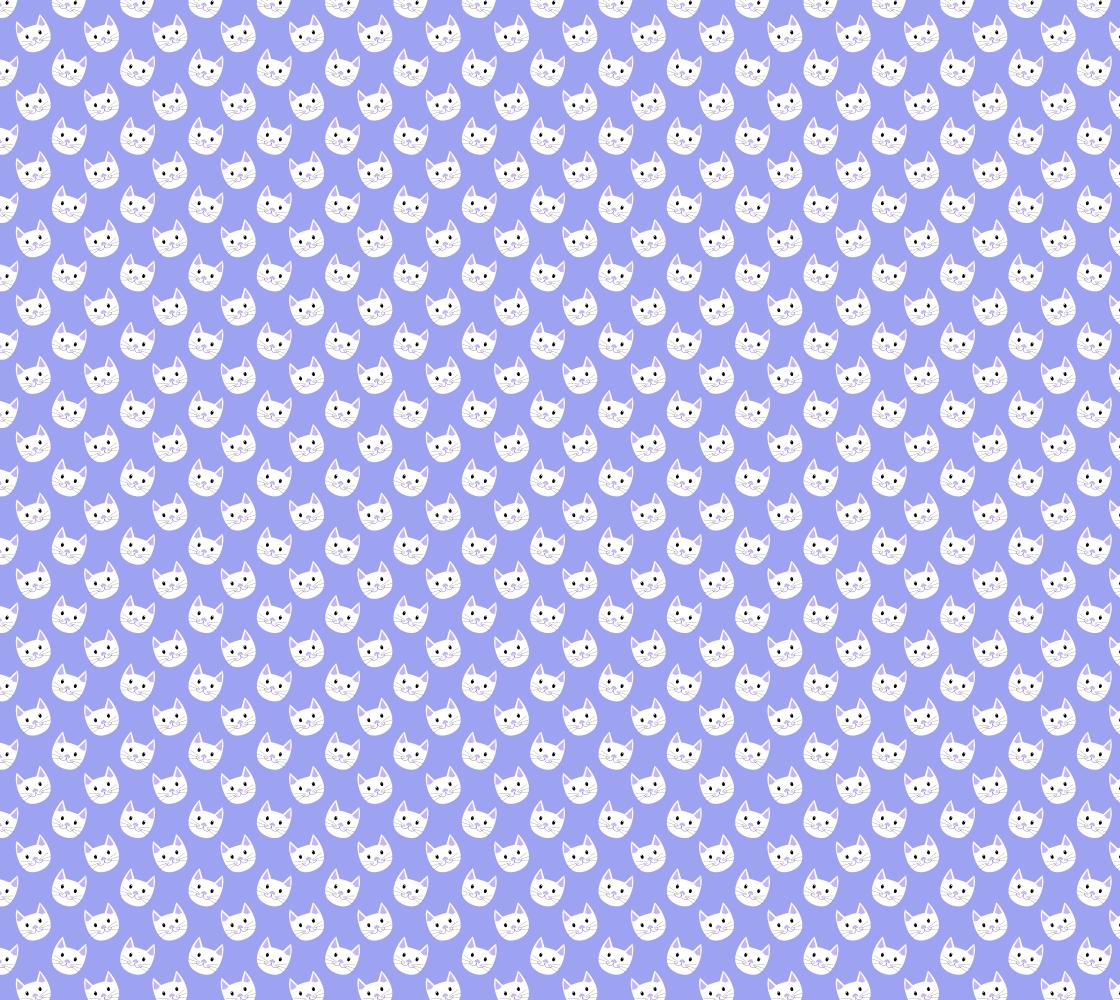 Aperçu de Cute Cat Kitten Face Fabric Pattern Purple and White