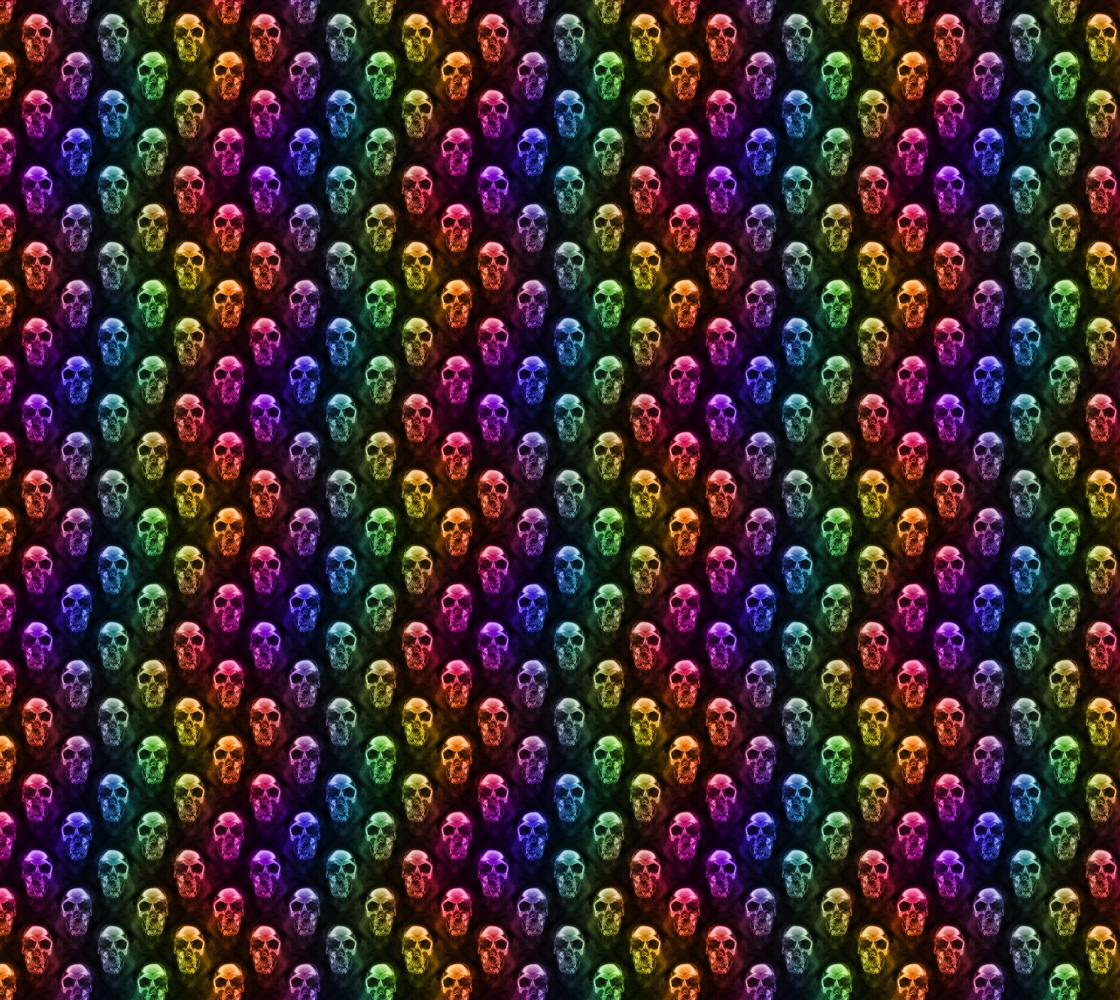 Rainbow Coloured Human Skull Fabric Pattern Multicolored Design aperçu