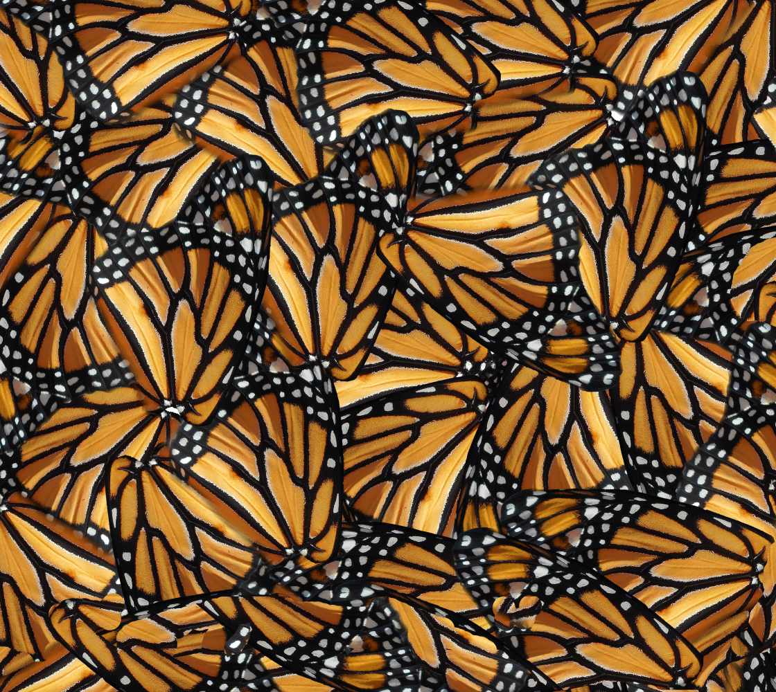 Monarch Butterfly Wings Fabric Panel Mosaic in Original Colours Miniature #1