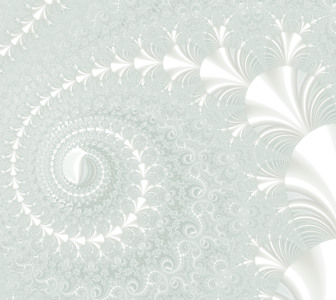 Off White and Seafoam Green Fractal Floral Fabric Design preview