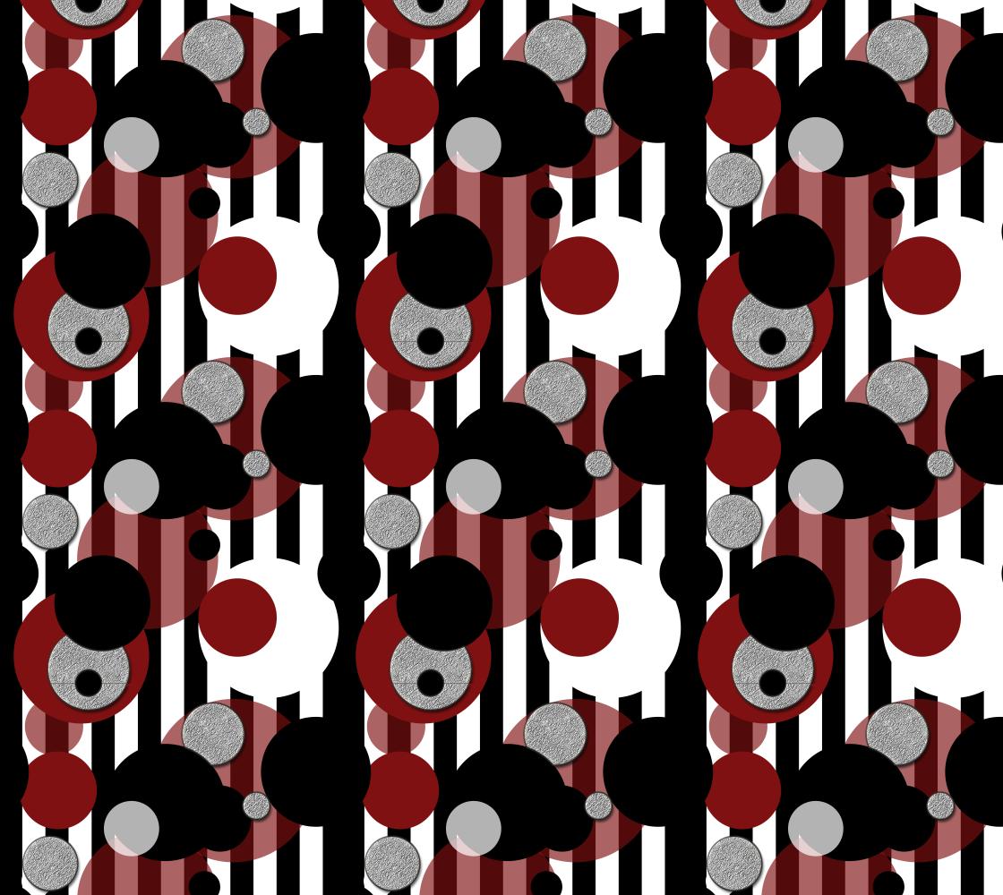 Aperçu de Black White Red Stripes Dots Fabric