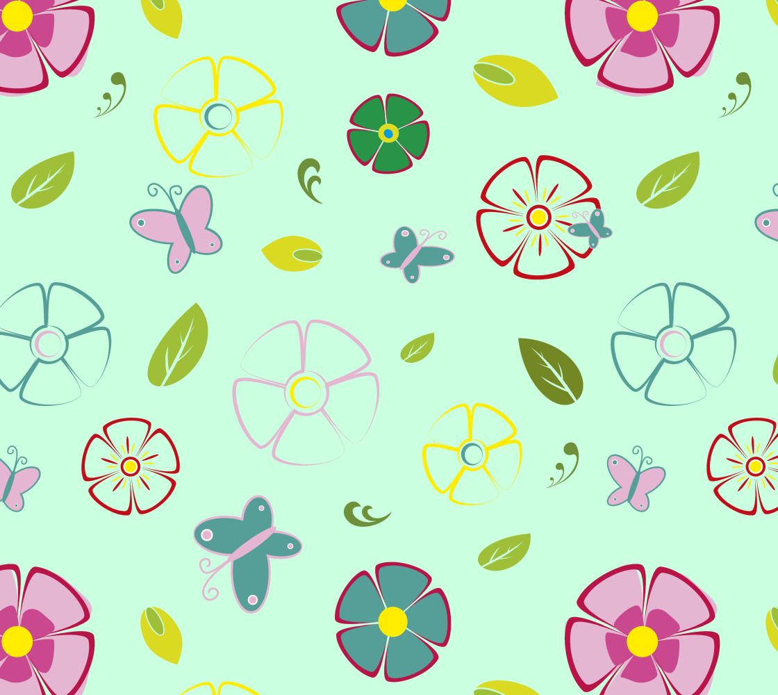 Flowers garden on green preview