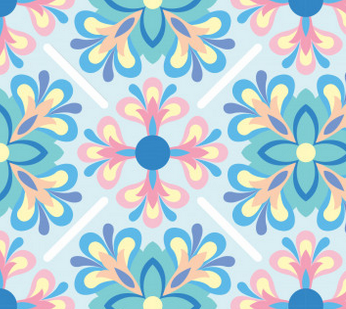 Aperçu de Pink and Blue Abstract Floral