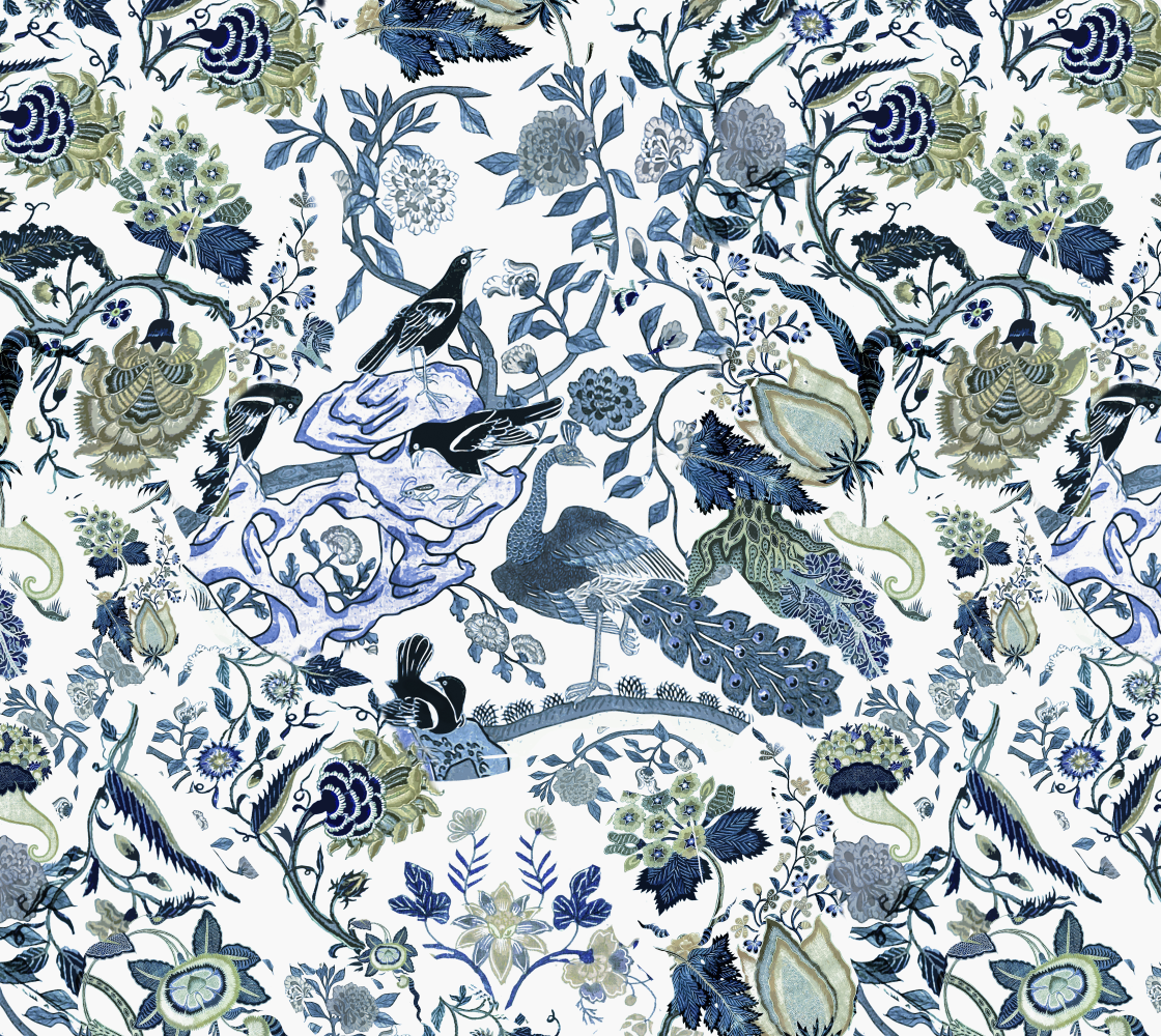"""Chinoiserie Blue - fabric (209) pattern across 54"""" width-vertical preview"""