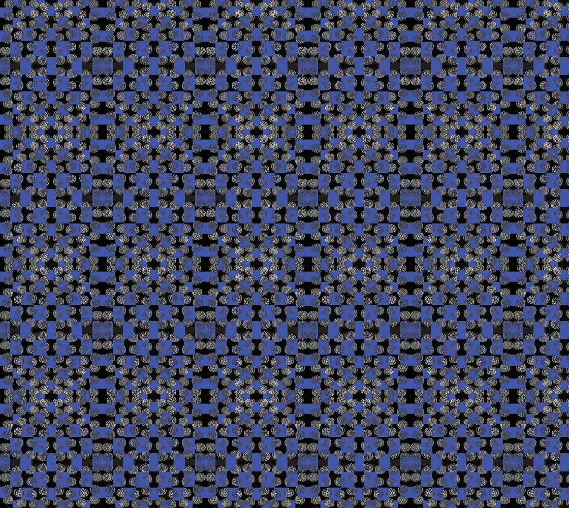 Art of Where_Fabric_Flowers On Checkerboard Blue preview
