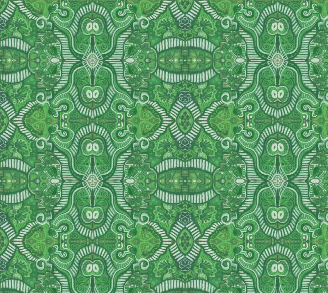 Aperçu de Apple Stripes Bohemian Arabesque Pattern Green