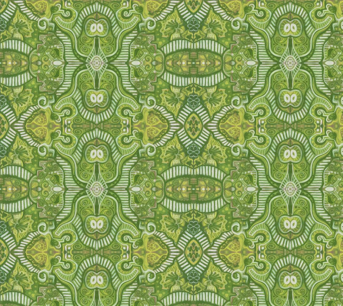 Aperçu de Apple Stripes Bohemian Arabesque Pattern Chartreuse Green Yellow