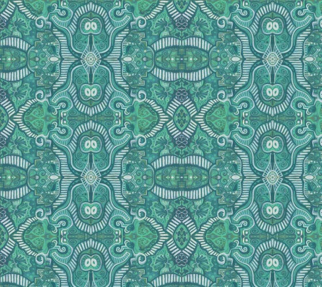 Aperçu de Apple Stripes Bohemian Arabesque Pattern  Aquamarine Mint Teal