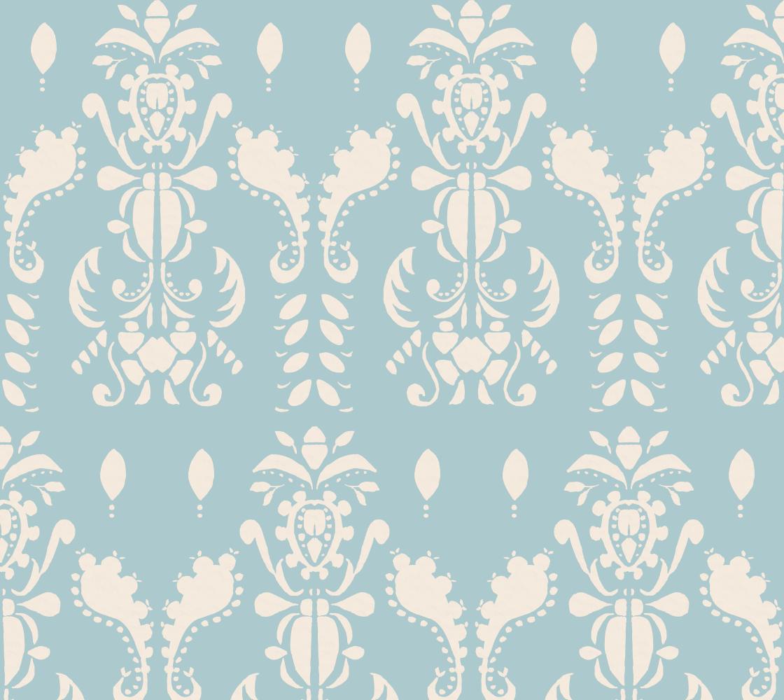 Aperçu de Soft Blue and Cream Damask style