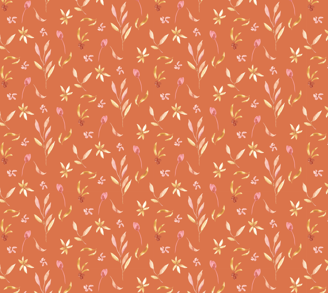 Aperçu de Wildflowers on Terracotta fabric
