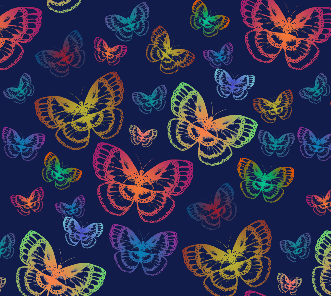 Colorful Butterflies Pattern Fabric preview