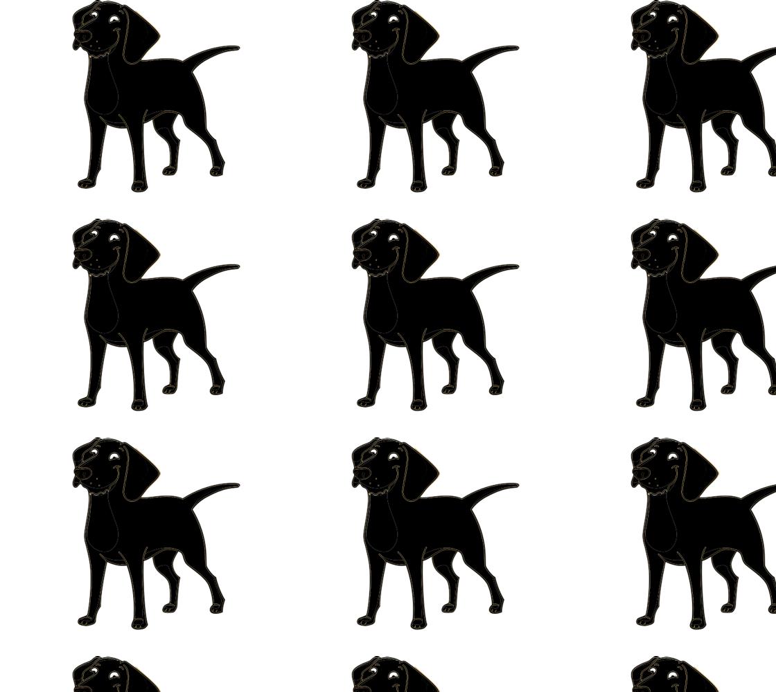 Labrador Retriever black cartoon fabric preview