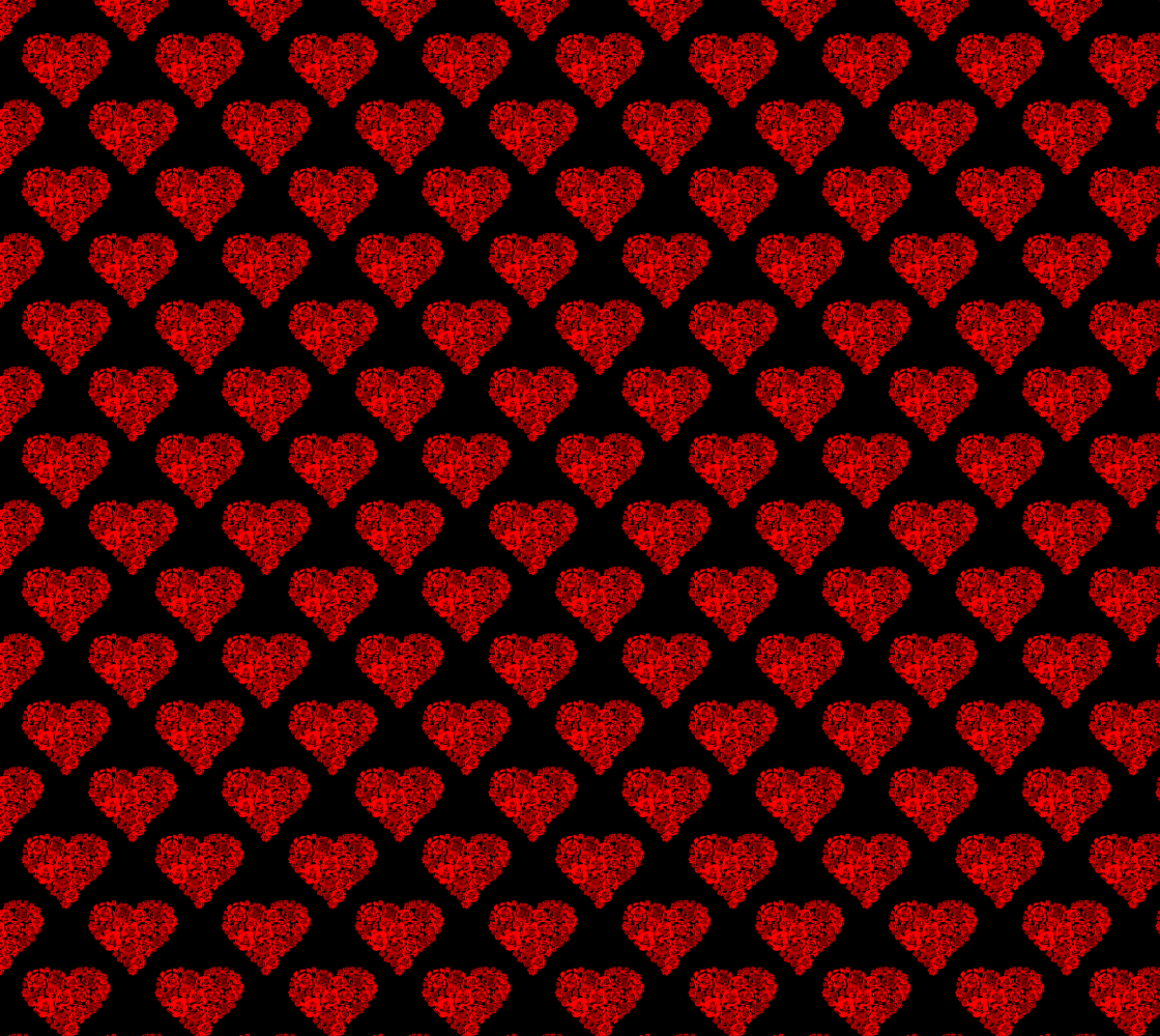Red Floral Hearts Pattern Fabric preview