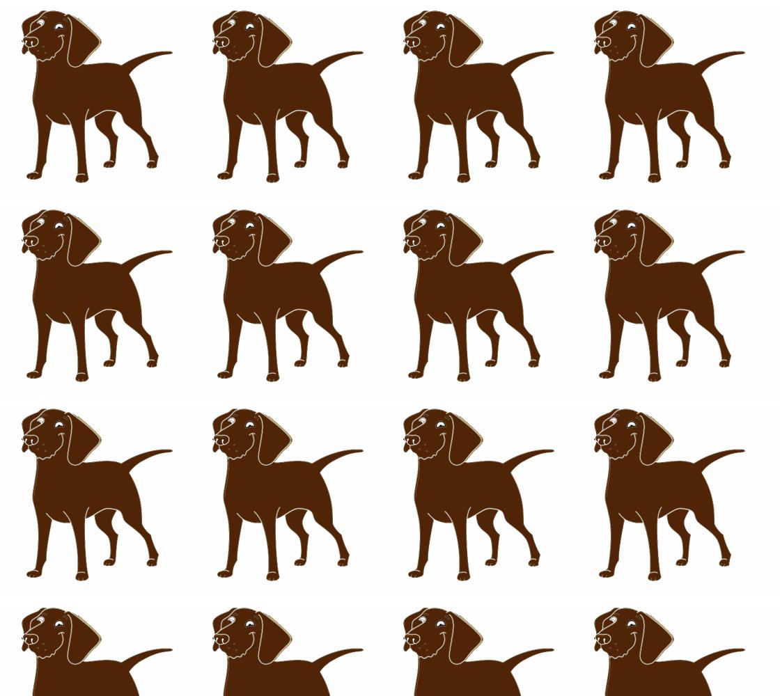 Labrador Retriever chocolate cartoon fabric preview